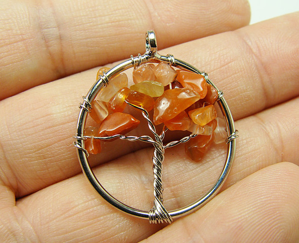 30mm Carnelian tree of life silver wire pendant