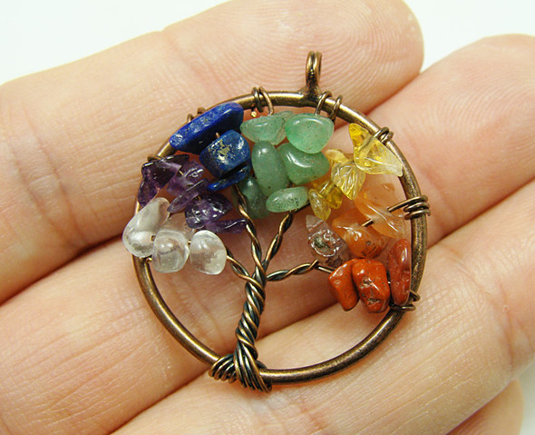 30mm Multi stone tree of life brass wire pendant