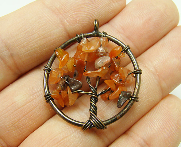 30mm Carnelian tree of life brass wire pendant