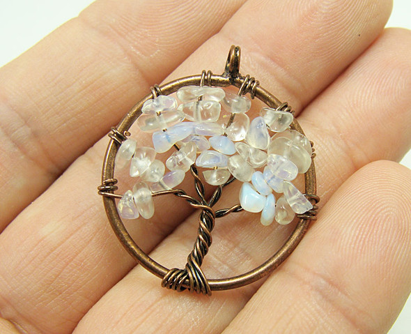 30mm Opalite tree of life brass wire pendant