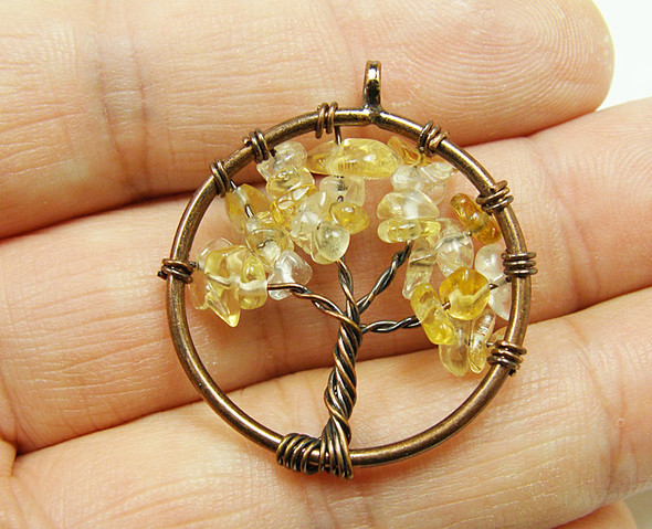 30mm Citrine tree of life brass wire pendant