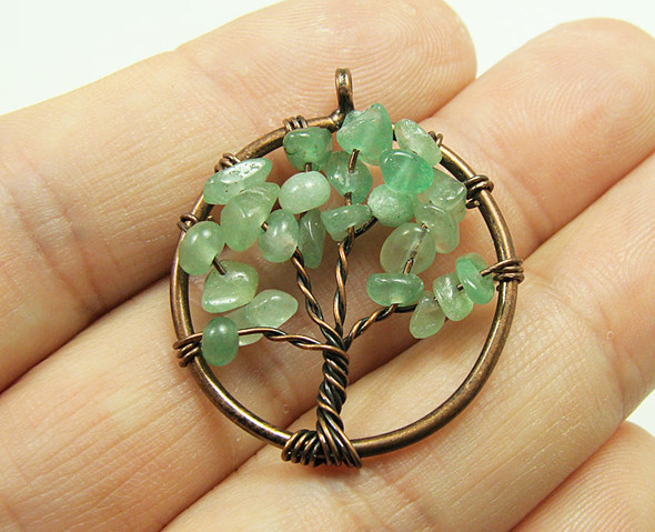30mm Green aventurine tree of life brass wire pendant