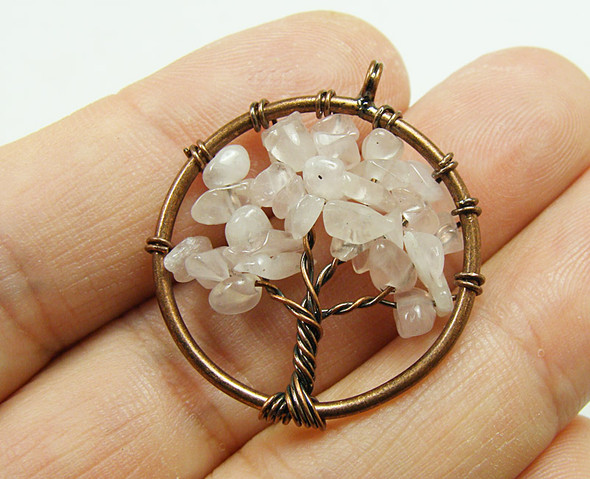 30mm Rose quartz tree of life brass wire pendant