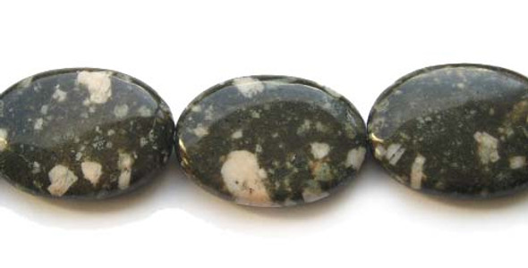 25x35mm 11 Beads Kiwi Stone Puffed Oval Beads