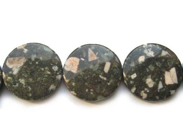 30mm 13 Beads Kiwi Stone Puffed Coin Beads