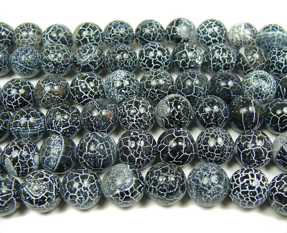 10mm  15 inches Black matrix agate smooth round