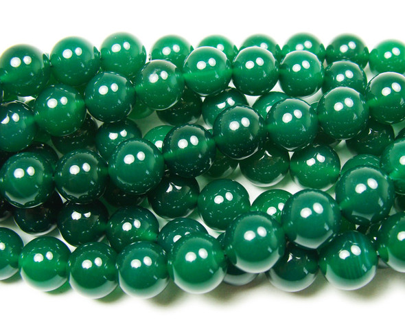 8mm 15 Inches Dark Green Agate Round Beads