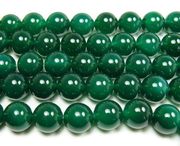 14mm  15 inches Dark green agate round beads