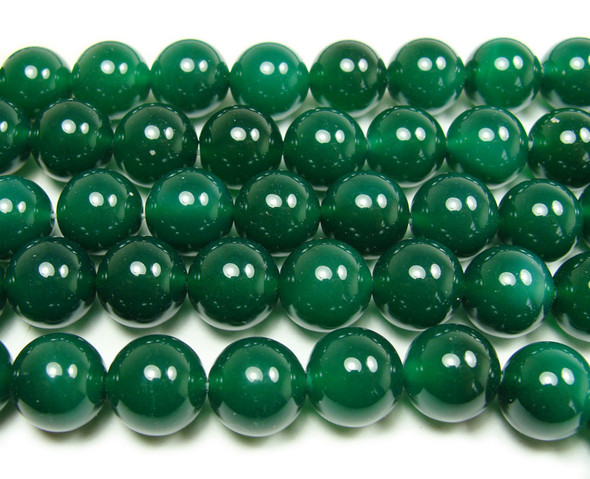 14mm 15 Inches Dark Green Agate Round Beads
