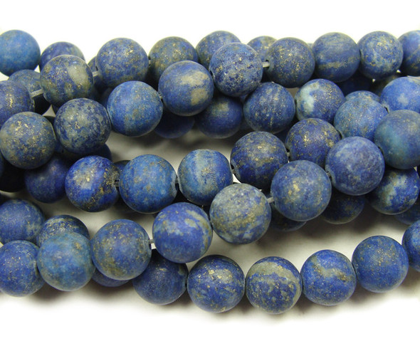 "4mm 15.5"" High Quality Lapis Matte Round Beads"