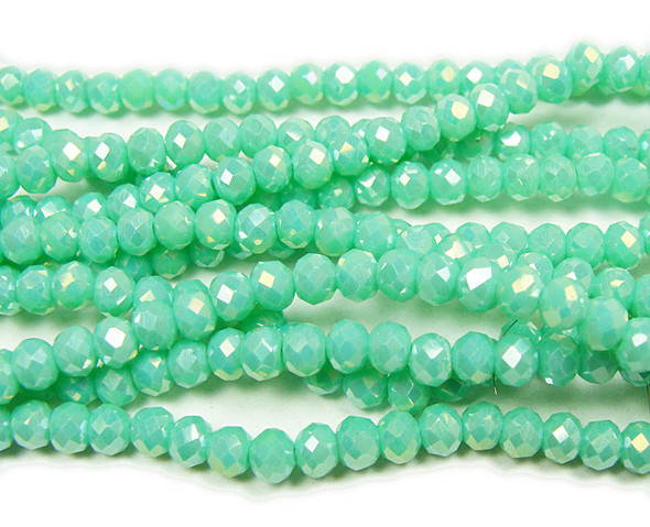 """3x4mm 19"""" Light Spring Green Glass Faceted Rondelles"""