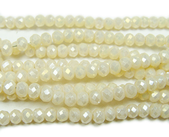 """6x8mm 22"""" Cream White Glass Faceted Rondelles"""