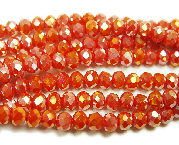 """3x4mm 19"""" Rose Red Glass Faceted Rondelles"""