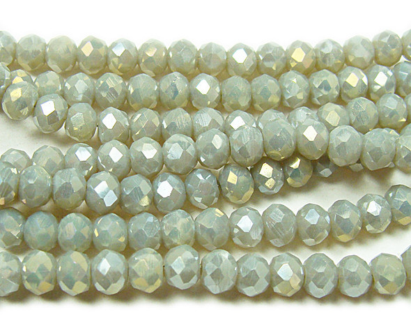 """3x4mm 19"""" Gray Glass Faceted Rondelles"""
