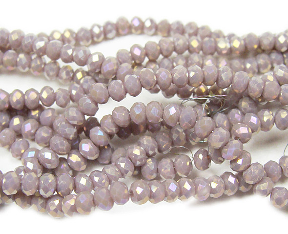 """2x3mm 17"""" Purple Oyster Beige Glass Faceted Rondelles"""