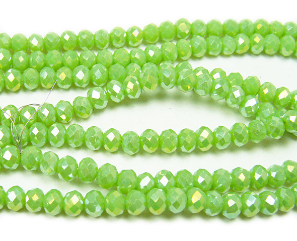 """3x4mm 19"""" Green Glass Faceted Rondelles"""