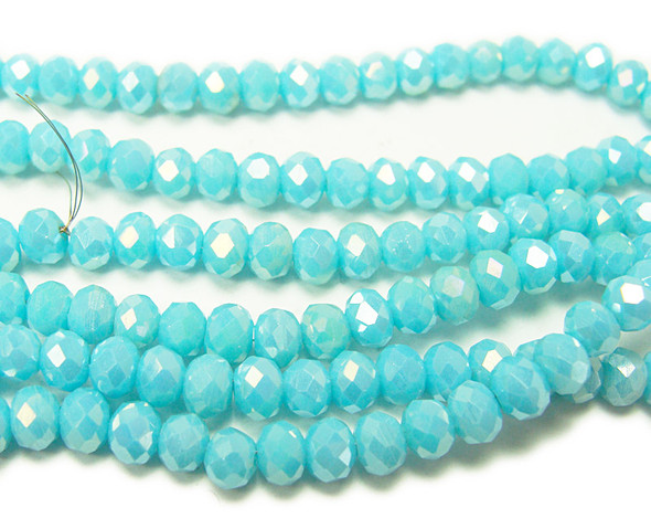 """3x4mm 19"""" Light Turquoise Glass Faceted Rondelles"""