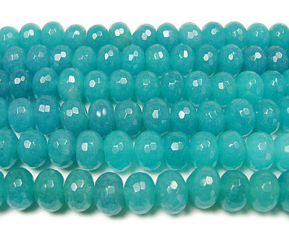 10x14mm 15 Inches Blue Sponge Quartz Faceted Rondelle Beads