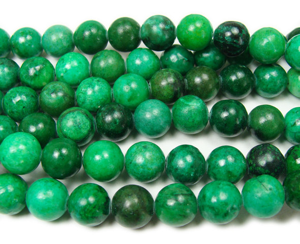 Green jade smooth round beads