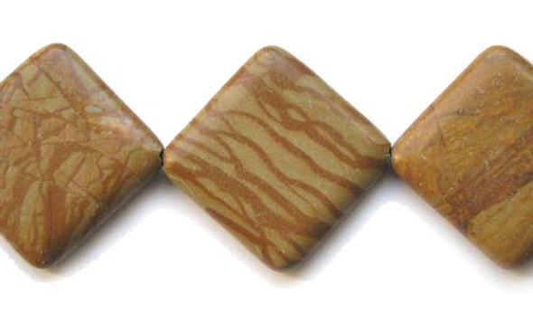 40x40mm  10 beads Scene jasper diamond-shaped beads