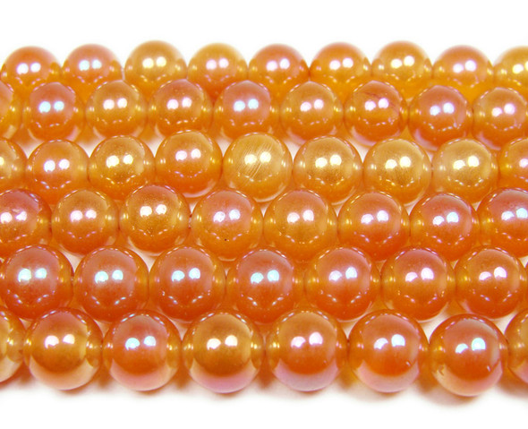 "10mm  15"" Dark orange electro-plated agate beads"