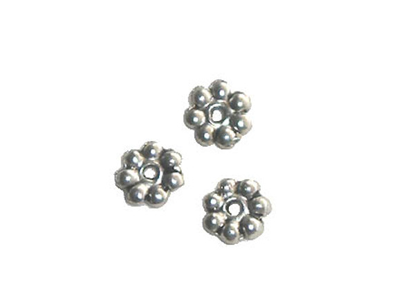 6mm  pack of 100 pieces Bali style pewter daisy flat discs