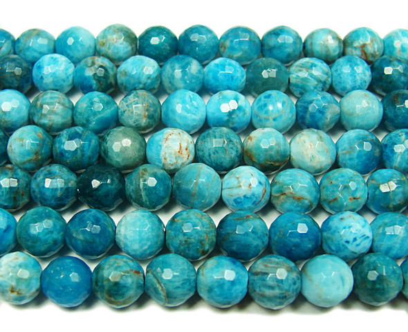 8mm  Natural blue apatite faceted round beads