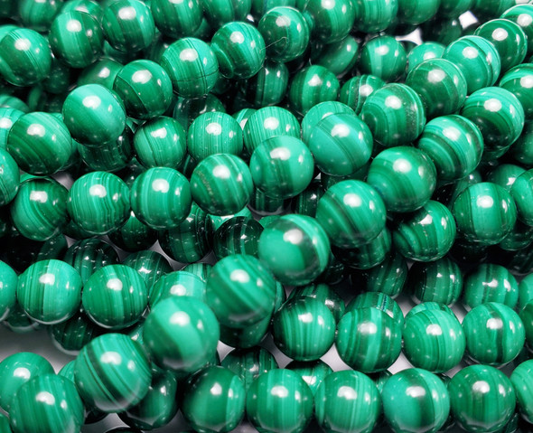 6 - 6 5mm 15.5 Inches High Quality Malachite Round Beads