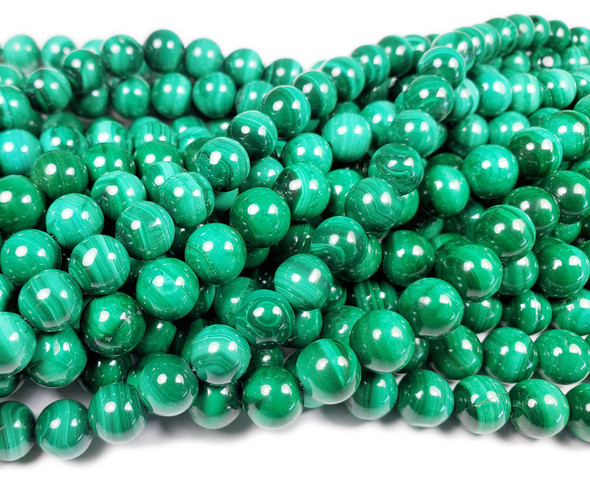 8mm 15.5 Inches High Quality Malachite Round Beads