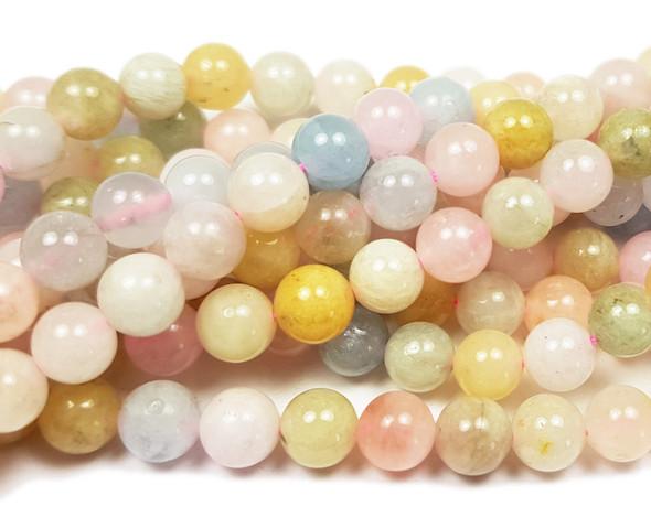 6mm 15.5 Inches Morganite Multi Stone Round Beads