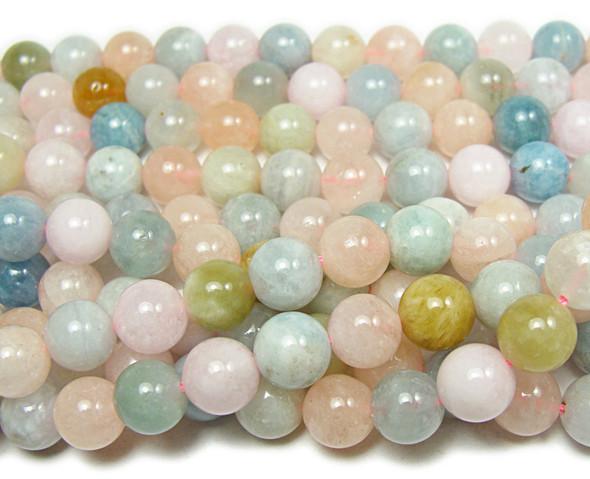 """8mm 15.5"""" Morganite Multi Stone Round Beads"""