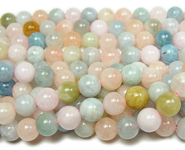 12mm 15.5 Inches Morganite Multi Stone Round Beads