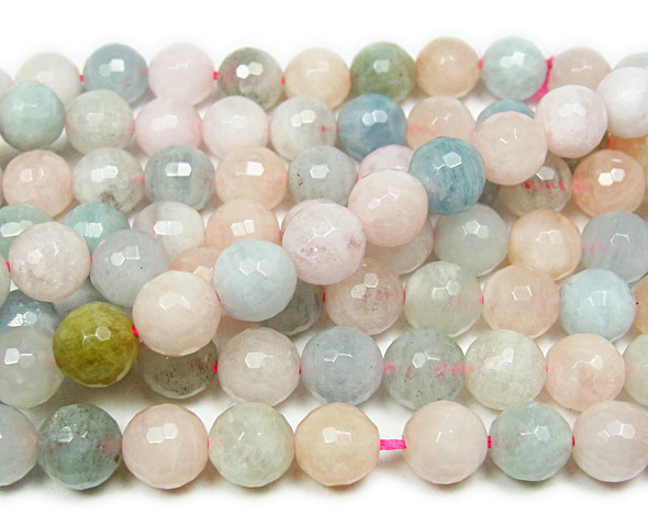 10mm 15.5 Inches Morganite Faceted Round Beads