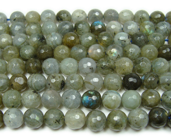 8mm Labradorite faceted beads with some blue iridescence