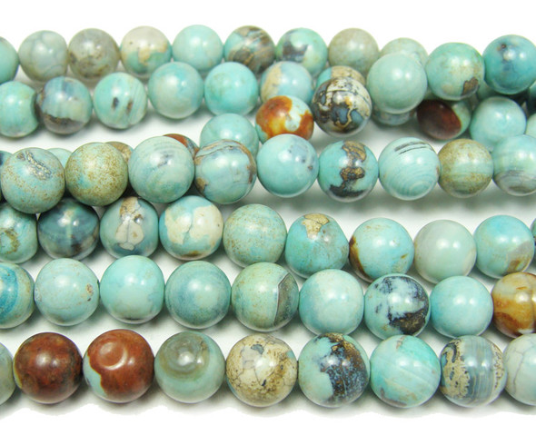 8mm Blue Turquoise Agate Smooth Round Beads