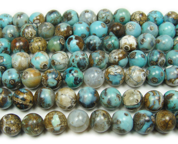 10mm Blue turquoise agate smooth round beads