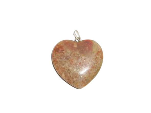 35mm Pink jasper heart pendant