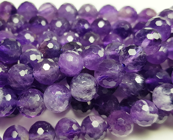 6mm Finely Cut Amethyst Faceted Round Beads