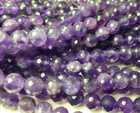 8mm Finely Cut Amethyst Faceted Round Beads