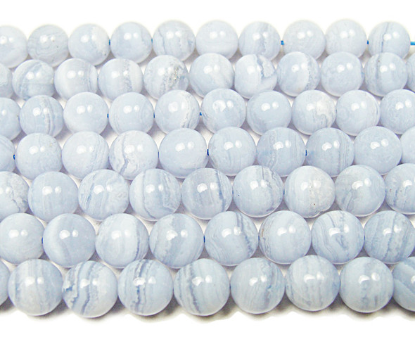 8mm 16 Inches Blue Lace Agate Smooth Round Beads