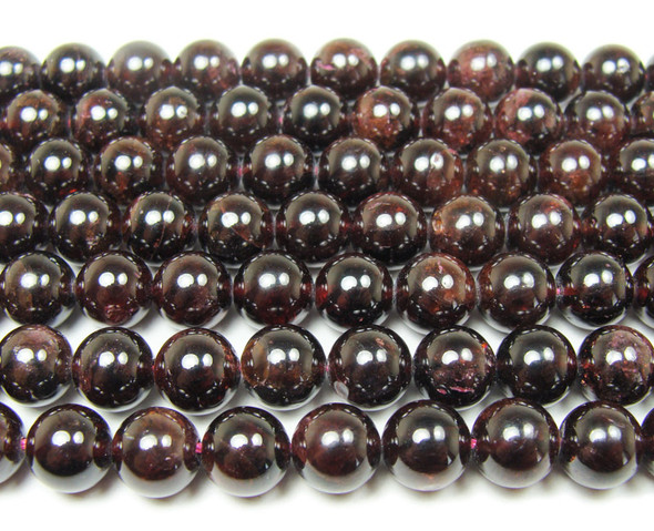 5.8mm Red garnet round beads with high luster