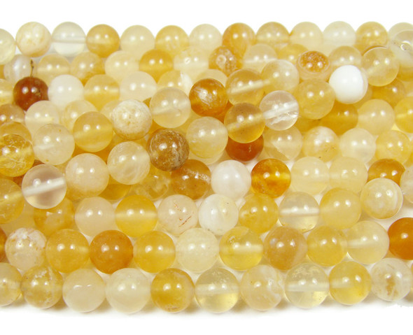 8mm  16 inches Autralian yellow  opal round beads