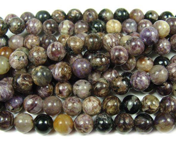 8mm 16 Inches Charoite Smooth Round Beads
