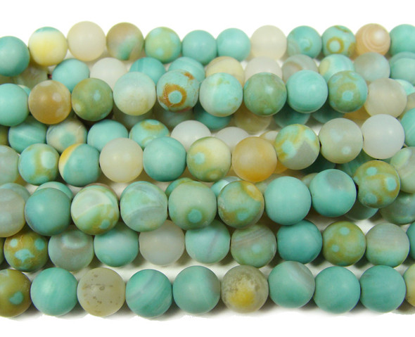 8mm 15 Inches Turquoise-Colored Agate Matte Round Beads
