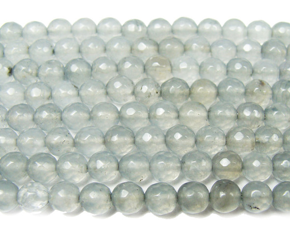 8mm Light smoky jade faceted round beads