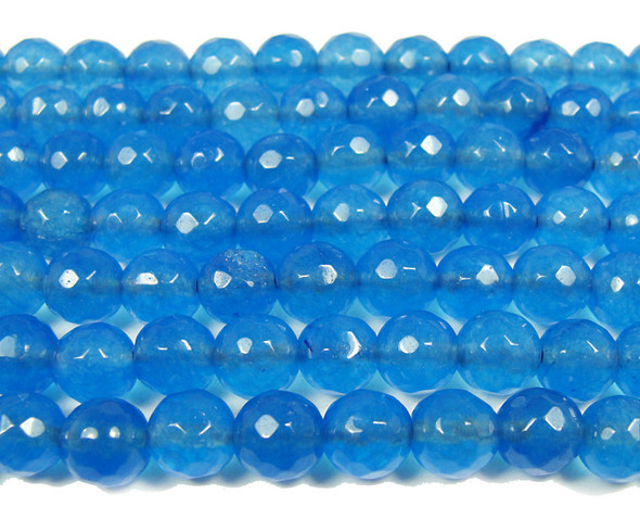 8mm Royal blue jade faceted round beads