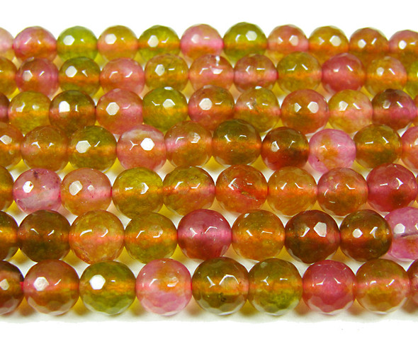 8mm Light green and cranberry jade faceted round beads