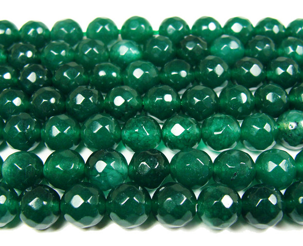 8mm Dark green jade faceted round beads