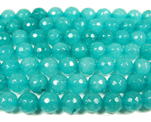 translucent jade faceted round beads 8mm Sea green  jade faceted round beads