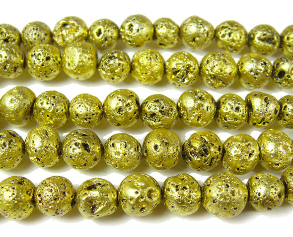 8mm Lime green metallic lava round beads